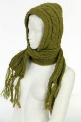 Echarpe avec capuche anis en laine doublée polaire 249618