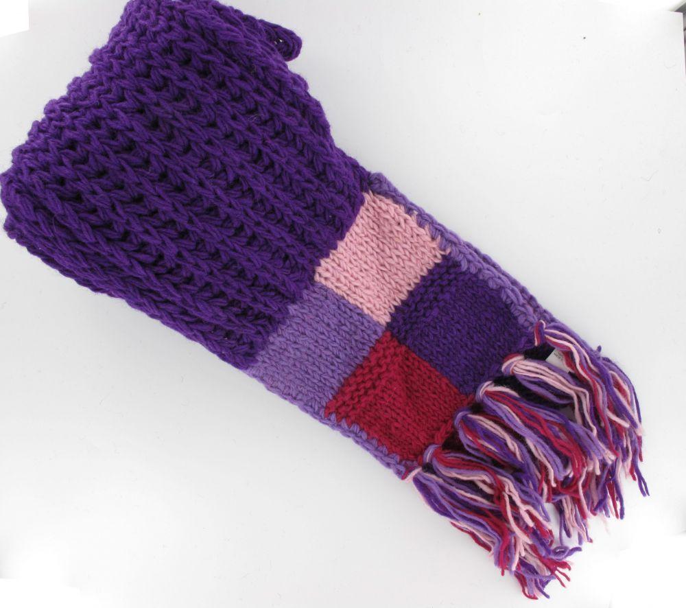 Echarpe maghela en pure laine du Népal violette 243796