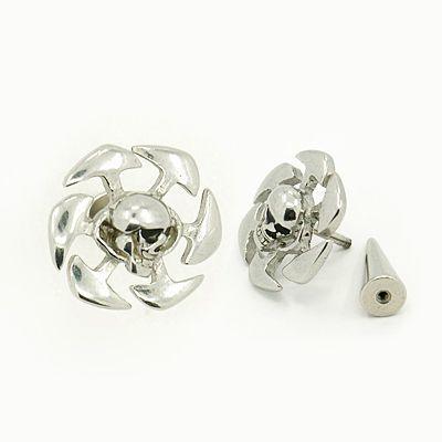Faux piercing écarteur en acier logo tête de mort spir 246725