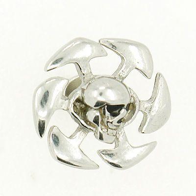 Faux piercing écarteur en acier logo tête de mort spir 256226