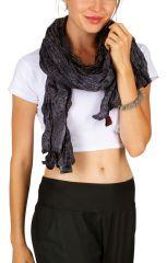 Foulard noir et gris avec des rosaces look ethnique Phil 309445