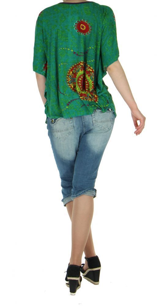 Haut ethnique cape chauve souris imprimé malakif vert 255744