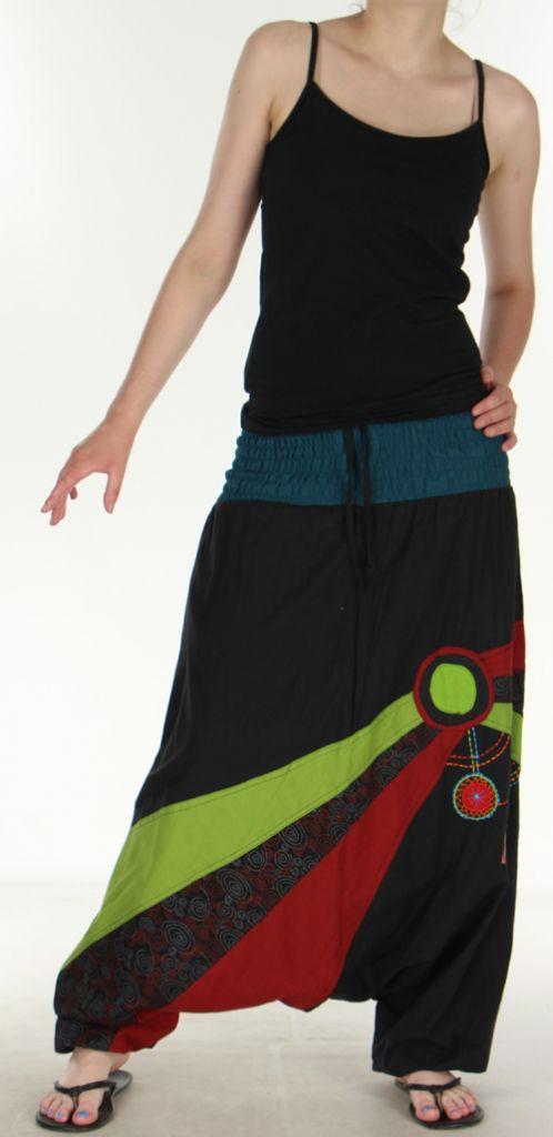 Joli Sarouel pour femme coloré et baba cool Noir Oko 273137