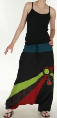 Joli Sarouel pour femme color� et baba cool Noir Oko 273137