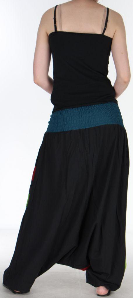 Joli Sarouel pour femme coloré et baba cool Noir Oko 273138