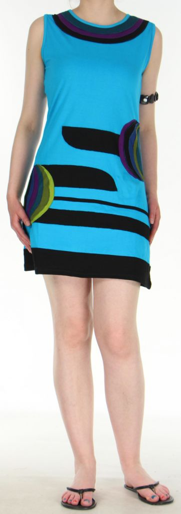 Jolie et Agréable robe courte d'été ethnique   Bleue  Lara 272749