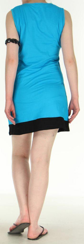 Jolie et Agréable robe courte d'été ethnique   Bleue  Lara 272750