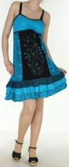 Jolie et Agr�able robe courte d'�t� ethnique   Bleue  Lulu 273109