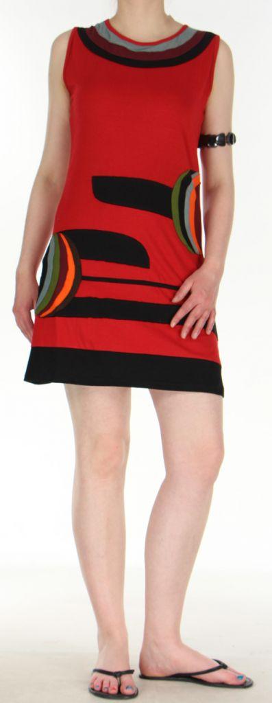 jolie et agreable robe courte d ete ethnique rouge lara. Black Bedroom Furniture Sets. Home Design Ideas