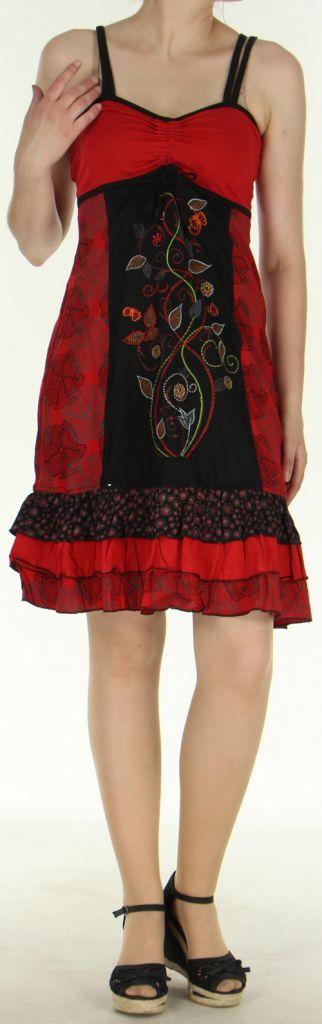Jolie et Agréable robe courte d'été ethnique   Rouge  Lulu 273111