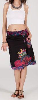 Jolie Jupe mi-longue ethnique et colorée - noire - Prisca 271874
