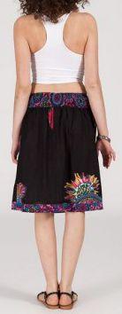 Jolie Jupe mi-longue ethnique et colorée - noire - Prisca 271875