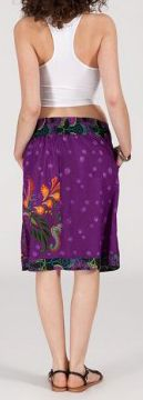 Jolie Jupe mi-longue ethnique et colorée - violette - Adila 271877