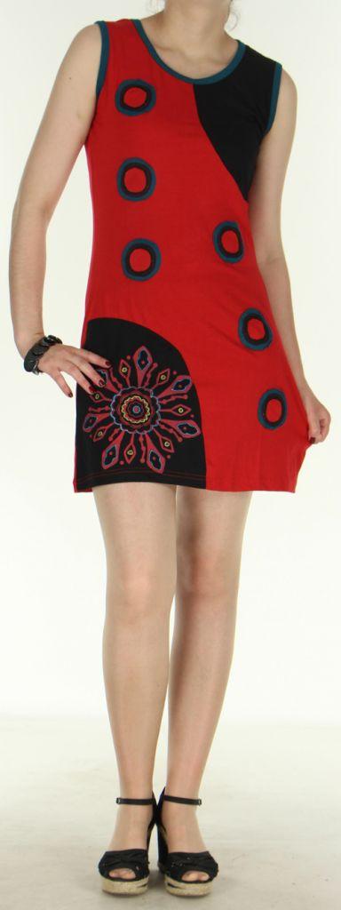 Jolie robe courte - ethnique et colorée - Rouge/Noire - Magda 272142