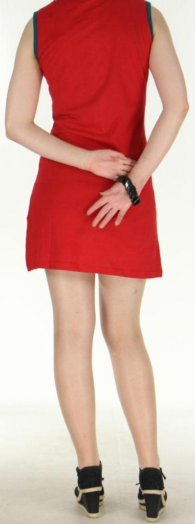 Jolie robe courte - ethnique et colorée - Rouge/Noire - Magda 272143