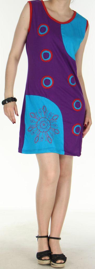 Jolie robe courte - ethnique et colorée - Violette/Bleue - Magda 272144