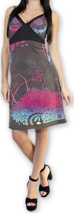 Jolie robe courte d'été tendance et colorée Gris Carlla 273306