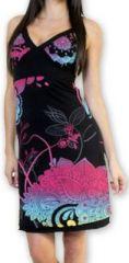 Jolie robe courte d'�t� tendance et color�e Noire Carlla 273312