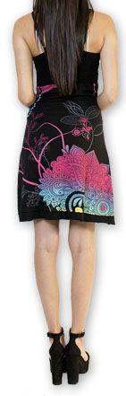Jolie robe courte d'été tendance et colorée Noire Carlla 273313