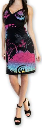 Jolie robe courte d'été tendance et colorée Noire Carlla 273314
