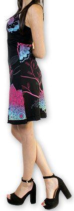 Jolie robe courte d'été tendance et colorée Noire Carlla 273315