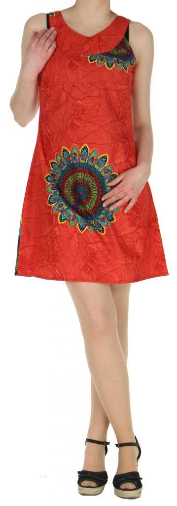 Jolie Robe d'été ethnique idéale cérémonie  Rouge  Alisha 272576