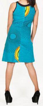 Jolie robe d'été sans manches ethnique et pas chère Bleue Ninfa 272192