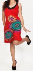 Jolie robe d'été sans manches ethnique et pas chère Rouge Ninfa 272187