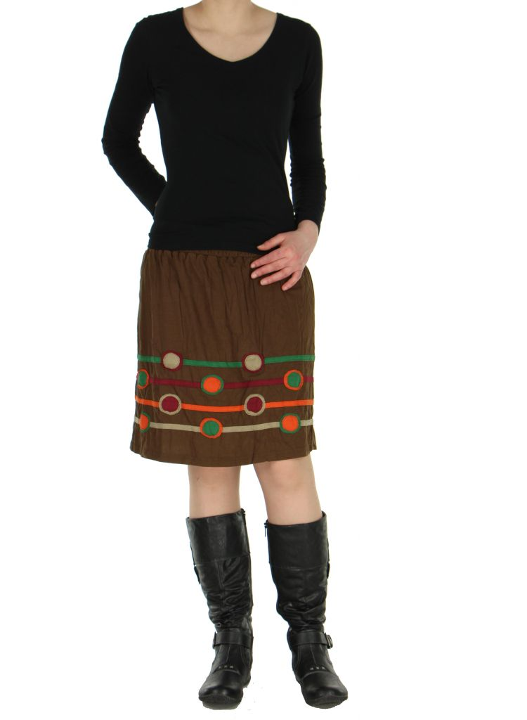 Jupe colorée taille smockée marron Sophia 267179