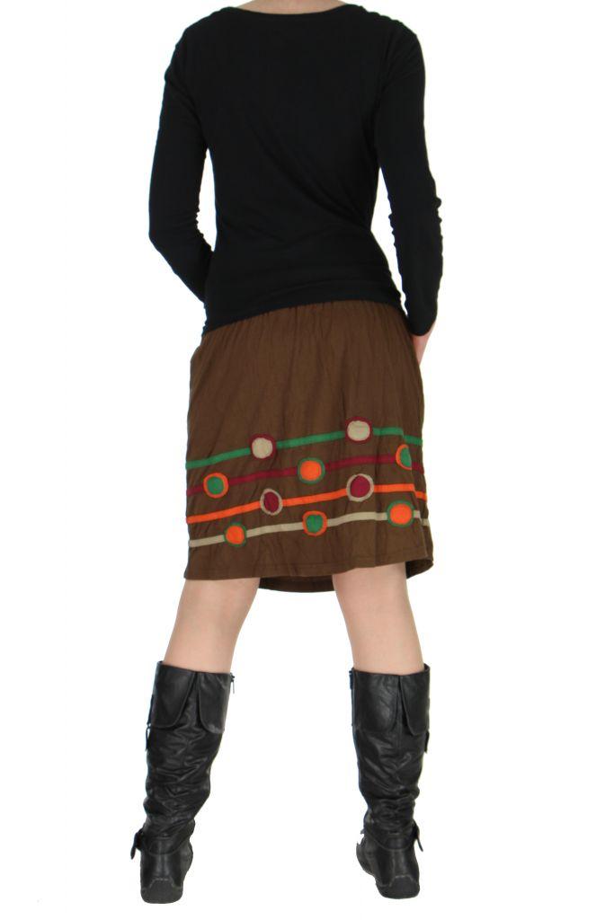 Jupe colorée taille smockée marron Sophia 267180