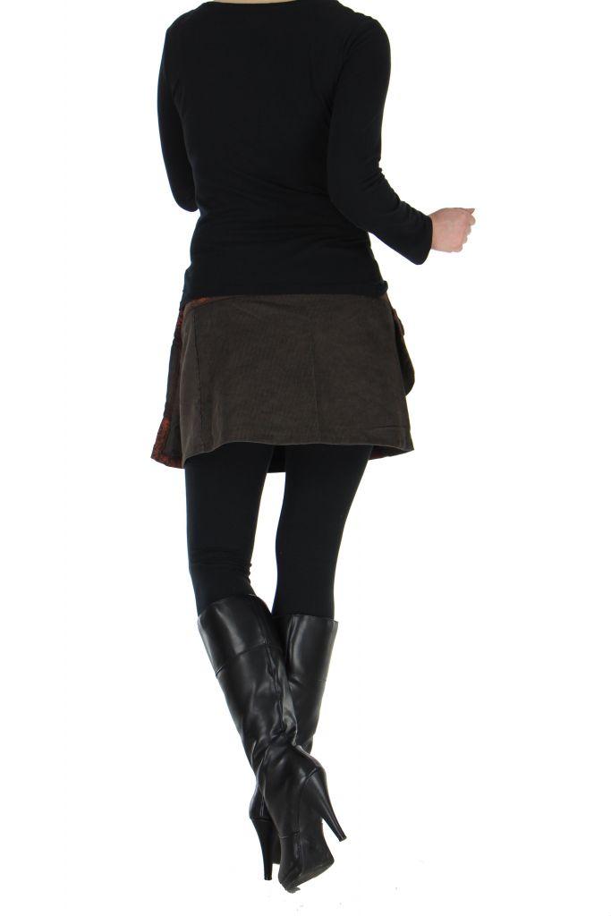 Jupe courte en velours marron dasham 266391