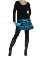 Jupe courte en velours noire et bleue dasham 266386