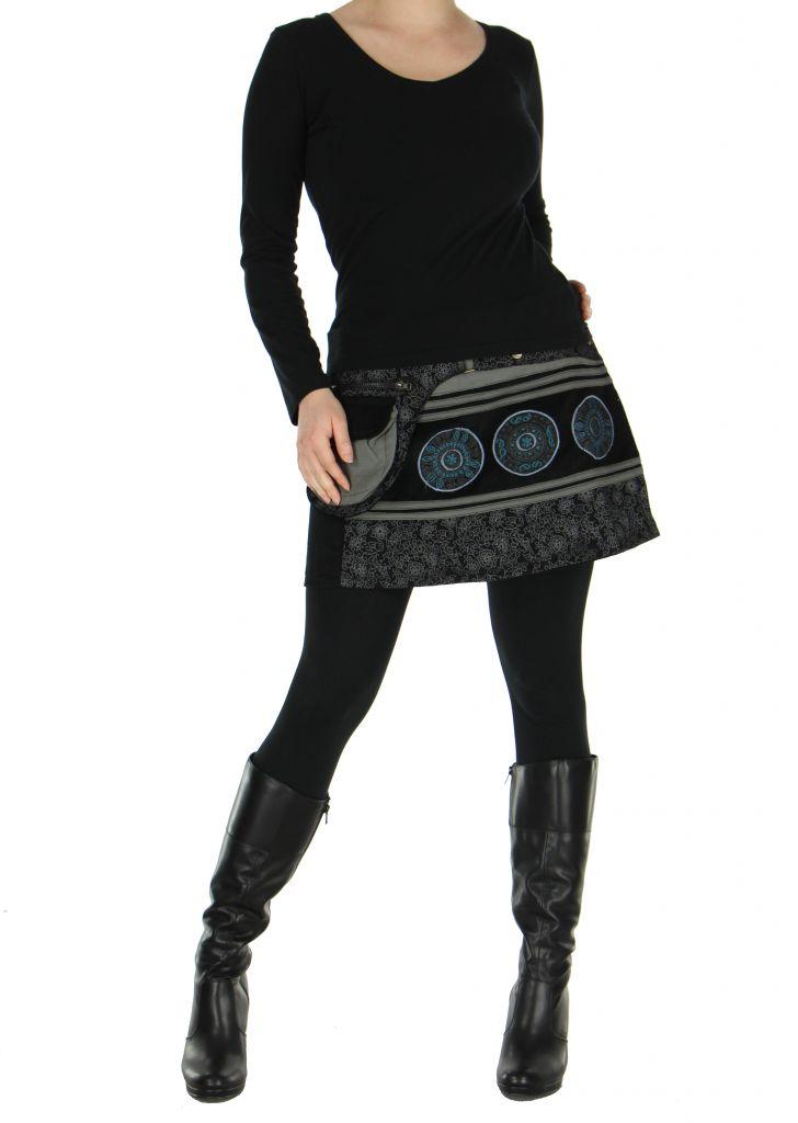 Jupe courte en velours noire et grise dasham 266388