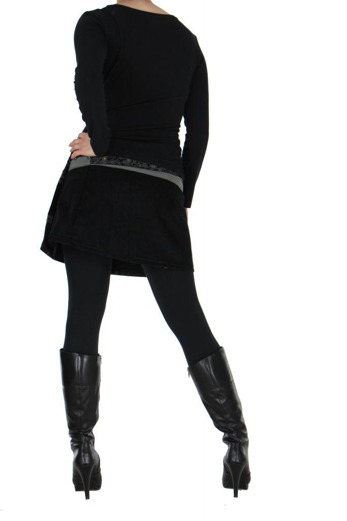 Jupe courte en velours noire et grise dasham 266389