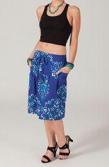 Jupe courte imprimée bleue original et pas chère Mathilda 318713