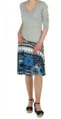 Jupe courte originale bleue imprim�e ethnique fashion 245879