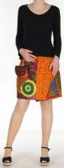 Jupe courte originale r�versible avec poche amovible Orange Kala 272709