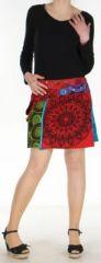 Jupe courte originale r�versible avec poche multicolore Noire Elifa 272534