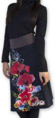 Jupe d'Hiver mi-longue Originale et Imprimée Tulip Noire 274532