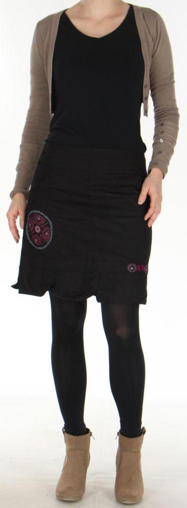 jupe droite noire en coton ethnique et originale zalake. Black Bedroom Furniture Sets. Home Design Ideas