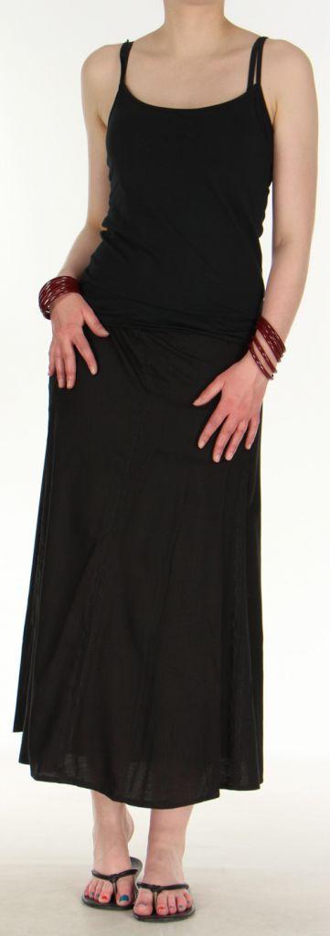 Jupe longue «portefeuille» pas chère  Noire  Gwenola 272372