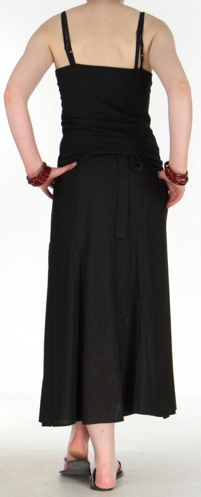 Jupe longue «portefeuille» pas chère  Noire  Gwenola 272373