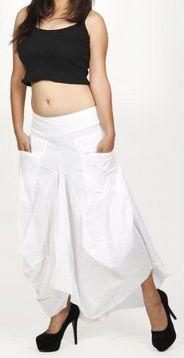 Jupe longue blanche ethnique coupe bourgeon uni Saline 271112