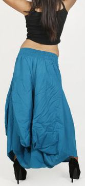 Jupe longue bleue ethnique coupe bourgeon uni Saline