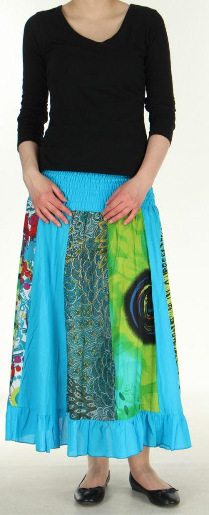 Jupe longue bleue ethnique transformable 2en1 Elise 271156