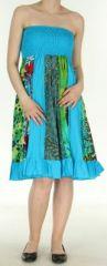 Jupe longue bleue ethnique transformable 2en1 Elise 271157