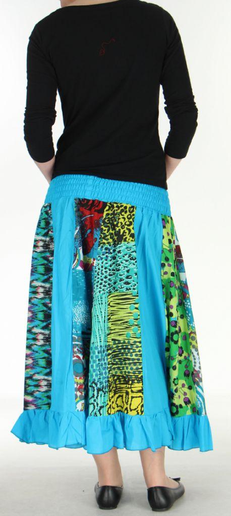 Jupe longue bleue ethnique transformable 2en1 Elise 271158