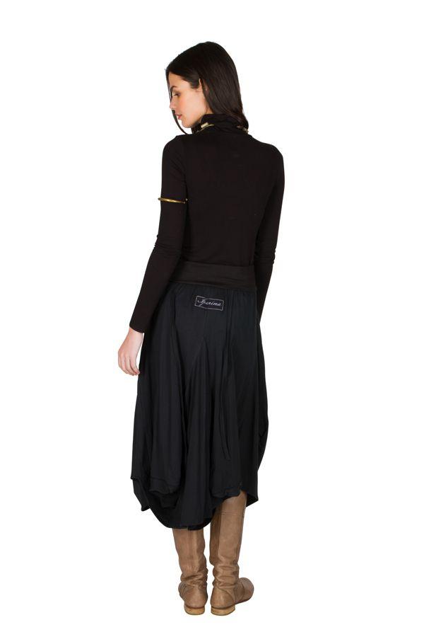 Jupe longue en coton ample avec deux poches fantaisie Delphine 301264