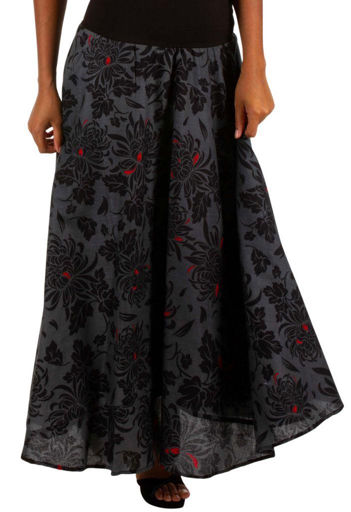 Jupe longue en voile de coton avec un imprimé fleuri Nadia