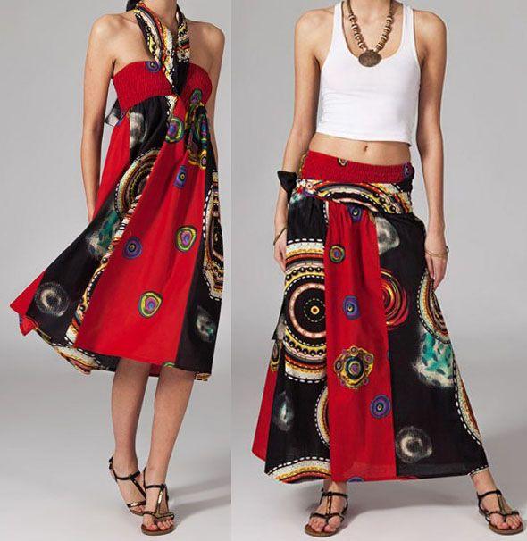 Jupe longue ethnique 2en1 transformable en robe Emma 269249